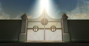 给珠色金黄的天堂装门 库存照片