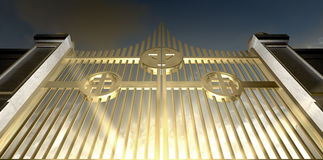 给珠色金黄的天堂装门 免版税库存图片
