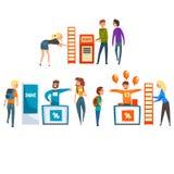 给登广告者或促进者的字符产品或服务做广告在电视节目预告立场,人参观的商品交易会或 皇族释放例证
