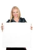 给白肤金发的女孩做广告 库存图片