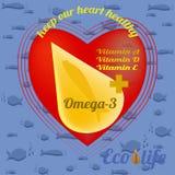 给的鱼油做广告模板从生态上干净的海水、Ω3和维生素A,D,E 向量例证