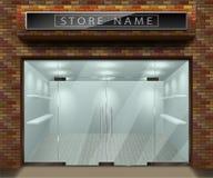 给的3d商店前面门面做广告模板与红砖 外部倒空商店或精品店与透明窗口 向量例证