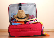 给穿衣的开放红色手提箱 免版税库存照片
