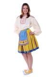 给穿衣的爱沙尼亚语传统妇女 图库摄影