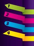 给箭头形状的颜色标号组做广告 免版税库存照片