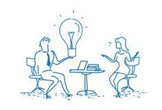 给轻的灯创新想法妇女创造性的启发概念雇员上司运作的过程的商人 向量例证