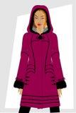 给s冬天妇女穿衣 免版税库存图片