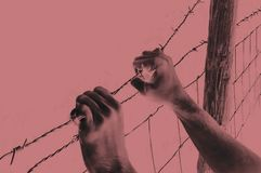 绝望地掌握在红色的手铁丝网 免版税库存图片