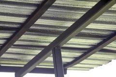 绝缘材料金属板在对保护热的屋顶下从阳光 免版税图库摄影