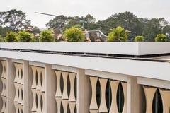 统一宫殿独立Pa的屋顶和直升机 免版税库存照片