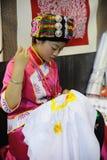 绣照片的中国qiang女孩 库存照片