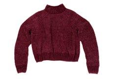 绯红色毛线衣 在白色的孤立 免版税库存图片