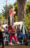 绳索特技表演者显示访客对在绳索的骑士` s节日展示在戈伦公园在以色列 库存图片