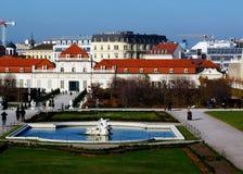 维也纳全景地平线视图从眺望楼的小山的 免版税库存照片