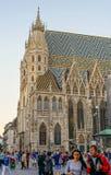 维也纳大教堂在crepuscule的瓦屋顶 免版税库存图片
