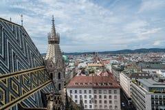 维也纳看法从大教堂屋顶的  免版税图库摄影