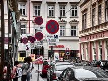 维也纳街道的看法  免版税库存图片
