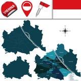 维也纳,奥地利地图和说出名字的Districts 图库摄影
