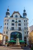 维也纳,奥地利- 19 08 2018年:观点的约翰内斯・谷登堡星期一 免版税库存图片