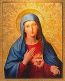 维也纳,奥地利- 2014年7月30日:从圣彼得教会的玛丹娜油漆或Peterskirche利奥波德Kupelwieser 库存图片