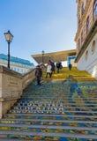 维也纳,奥地利- 2016年12月29日:在阿尔贝蒂娜博物馆Mus的台阶 免版税图库摄影