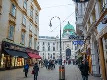 维也纳,奥地利- 2018年2月17日:在Hofburg故宫附近几乎著名在维也纳,奥地利 库存照片