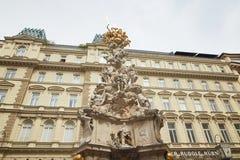 维也纳,奥地利- 2018年4月15日:建筑纪念碑 瘟疫柱子 免版税图库摄影