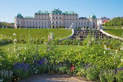 维也纳,奥地利- 2014年7月30日:眺望楼宫殿喷泉和庭院在早晨 库存照片