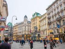 维也纳,奥地利2018年2月17日:都市风景视图一个欧洲` s多数美丽的镇和雕象维也纳 在街道上的人, 库存图片