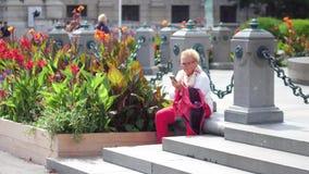 维也纳,奥地利- 2017年8月12日 使用她巧妙的电话的年长妇女在公园 库存图片