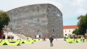 维也纳,奥地利- 2017年8月12日 著名mumok或博物馆MOderner Kunst,现代艺术博物馆 库存照片