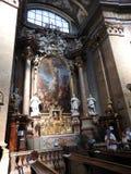 维也纳,奥地利29 07 2018年:圣皮特圣徒・彼得Peterskirche教会,巴洛克式的天主教教区教堂内部在维也纳,奥地利 库存照片
