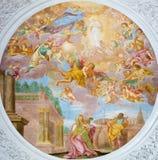 """维也纳- """"Die Erwählung Mariens""""壁画-圣母玛丽亚的竞选在教会Pfarkirche玛丽亚Hietzing里 免版税库存照片"""