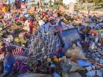 维加斯恐怖袭击-吊唁表示的58个受害者-拉斯维加斯-内华达- 2017年10月12日 免版税库存照片