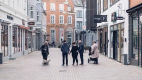 维堡,丹麦- 2016年8月14日:承担街道的未认出的人民 库存照片