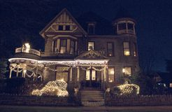 维多利亚女王时代的圣诞节房子场面在马里兰 免版税库存图片