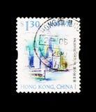 维多利亚港口、香港风景和地标serie,大约1999年 免版税图库摄影