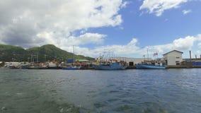 维多利亚港口和山看法从小船,马埃岛,塞舌尔2 股票视频