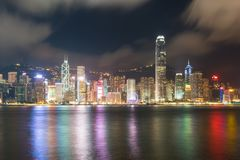 维多利亚港口夜视图在香港 聚会所 免版税库存图片