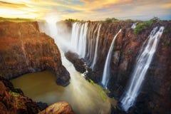 维多利亚瀑布在赞比亚和津巴布韦 免版税图库摄影