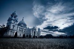 维多利亚纪念品,加尔各答的夜图象 免版税图库摄影