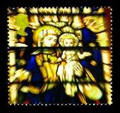 维尔京和儿童污迹玻璃窗,圣徒Edmundsbury Cathedr 库存照片