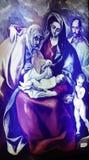 维尔京和格雷考绘画的孩子在从Fodele的出生地议院博物馆 库存图片
