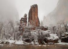 维尔京河流动通过石柱子在Sinawava寺庙在宰恩国家公园在一个冷的多雪的冬日 库存图片