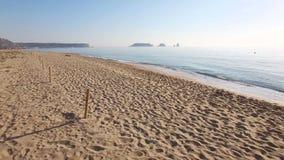 维尔京海滩沙丘空中寄生虫视图 影视素材