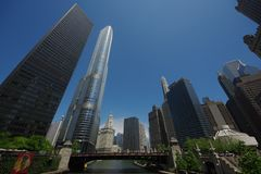 维尔斯街桥梁看法在芝加哥,伊利诺伊,美国 免版税图库摄影