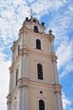 维尔纽斯大学圣约翰教会钟楼  库存图片