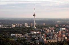 维尔纽斯电视塔,从空气baloon拍的立陶宛照片 库存照片