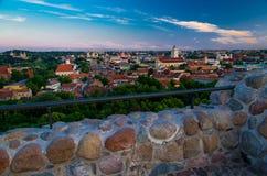 维尔纽斯老市中心,立陶宛全景  免版税图库摄影