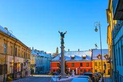 维尔纽斯,立陶宛- 2017年1月06日:共和国Uzupis,一个bohemic邻里天使在维尔纽斯 免版税库存照片